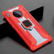 Silicone Frame Mirror Case Cover with Magnetic Finger Ring Stand T02 for Huawei Mate 30 Pro 5G Red