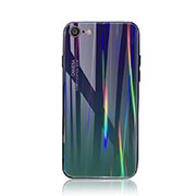 Silicone Frame Mirror Rainbow Gradient Case Cover for Apple iPhone SE (2020) Cyan