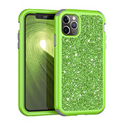 Silicone Matte Finish and Plastic Back Cover Case 360 Degrees Bling-Bling for Apple iPhone 11 Pro Max Green