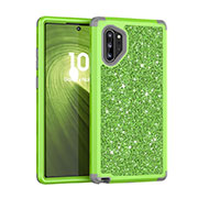 Silicone Matte Finish and Plastic Back Cover Case 360 Degrees Bling-Bling for Samsung Galaxy Note 10 Plus 5G Green