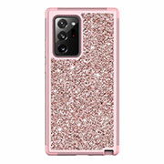 Silicone Matte Finish and Plastic Back Cover Case 360 Degrees Bling-Bling for Samsung Galaxy Note 20 Ultra 5G Rose Gold