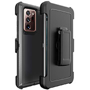 Silicone Matte Finish and Plastic Back Cover Case N04 for Samsung Galaxy Note 20 Ultra 5G Black