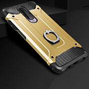 Silicone Matte Finish and Plastic Back Cover Case with Finger Ring Stand for Xiaomi Redmi K30 5G Gold