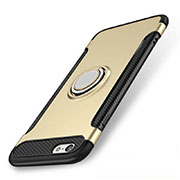 Silicone Matte Finish and Plastic Back Cover Case with Finger Ring Stand S01 for Apple iPhone SE (2020) Gold