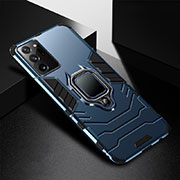 Silicone Matte Finish and Plastic Back Cover Case with Magnetic Finger Ring Stand R02 for Samsung Galaxy Note 20 Ultra 5G Blue