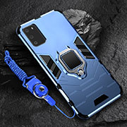 Silicone Matte Finish and Plastic Back Cover Case with Magnetic Finger Ring Stand R02 for Samsung Galaxy S20 5G Blue