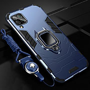 Silicone Matte Finish and Plastic Back Cover Case with Magnetic Finger Ring Stand R03 for Huawei P40 Lite Blue