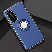 Silicone Matte Finish and Plastic Back Cover Case with Magnetic Finger Ring Stand S01 for Huawei P40 Pro Blue