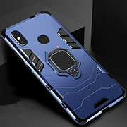 Silicone Matte Finish and Plastic Back Cover Case with Magnetic Stand for Xiaomi Mi 6X Blue