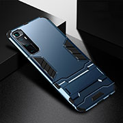 Silicone Matte Finish and Plastic Back Cover Case with Stand A01 for Xiaomi Mi 10 Ultra Blue
