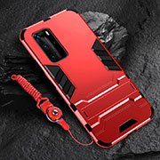 Silicone Matte Finish and Plastic Back Cover Case with Stand for Huawei P40 Pro Red