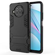 Silicone Matte Finish and Plastic Back Cover Case with Stand for Xiaomi Mi 10T Lite 5G Black