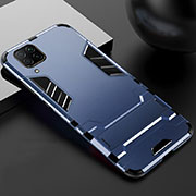 Silicone Matte Finish and Plastic Back Cover Case with Stand R01 for Huawei P40 Lite Blue