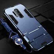 Silicone Matte Finish and Plastic Back Cover Case with Stand R01 for OnePlus 8 Pro Blue