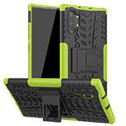 Silicone Matte Finish and Plastic Back Cover Case with Stand R01 for Samsung Galaxy Note 10 Plus 5G Green