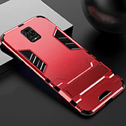 Silicone Matte Finish and Plastic Back Cover Case with Stand R01 for Xiaomi Redmi Note 9 Pro Red