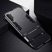 Silicone Matte Finish and Plastic Back Cover Case with Stand R02 for Samsung Galaxy Note 10 Plus 5G Black