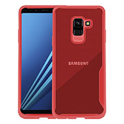 Silicone Transparent Frame Cover for Samsung Galaxy A8+ A8 Plus (2018) Duos A730F Red