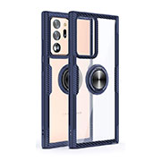 Silicone Transparent Mirror Frame Case 360 Degrees with Magnetic Finger Ring Stand T02 for Samsung Galaxy Note 20 Ultra 5G Blue