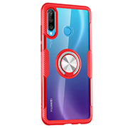 Silicone Transparent Mirror Frame Case 360 Degrees with Magnetic Finger Ring Stand Z01 for Huawei P30 Lite Red