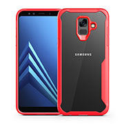 Silicone Transparent Mirror Frame Case Cover for Samsung Galaxy A6 (2018) Red