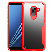 Silicone Transparent Mirror Frame Case Cover for Samsung Galaxy A8+ A8 Plus (2018) A730F Red