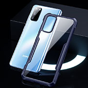 Silicone Transparent Mirror Frame Case Cover H01 for Samsung Galaxy S20 5G Blue