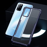 Silicone Transparent Mirror Frame Case Cover H01 for Samsung Galaxy S20 Plus 5G Blue