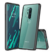 Silicone Transparent Mirror Frame Case Cover H02 for OnePlus 8 Pro Black