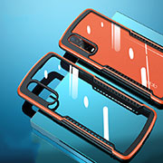 Silicone Transparent Mirror Frame Case Cover H03 for Oppo Find X2 Pro Orange