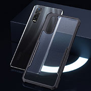 Silicone Transparent Mirror Frame Case Cover H04 for Oppo Find X2 Pro Black