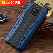 Soft Luxury Leather Snap On Case Cover for Huawei Mate 20 RS Blue and Black