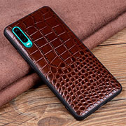 Soft Luxury Leather Snap On Case Cover R01 for Huawei P30 Brown
