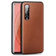 Soft Luxury Leather Snap On Case Cover R02 for Oppo Find X2 Pro Brown