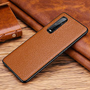 Soft Luxury Leather Snap On Case Cover R03 for Oppo Find X2 Pro Brown