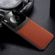 Soft Luxury Leather Snap On Case Cover R04 for Huawei Mate 30 Pro Brown