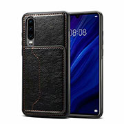 Soft Luxury Leather Snap On Case Cover R05 for Huawei P30 Black