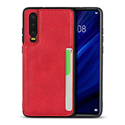 Soft Luxury Leather Snap On Case Cover R08 for Huawei P30 Red