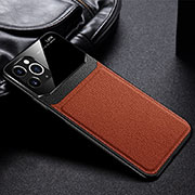 Soft Luxury Leather Snap On Case Cover R09 for Apple iPhone 11 Pro Max Brown