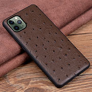 Soft Luxury Leather Snap On Case Cover R12 for Apple iPhone 11 Pro Max Brown