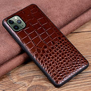Soft Luxury Leather Snap On Case Cover R14 for Apple iPhone 11 Pro Max Brown