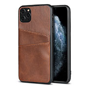Soft Luxury Leather Snap On Case Cover R15 for Apple iPhone 11 Pro Max Brown