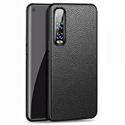 Soft Luxury Leather Snap On Case Cover U03 for Oppo Find X2 Pro Black