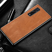 Soft Luxury Leather Snap On Case Cover U04 for Oppo Find X2 Pro Orange