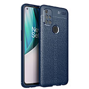 Soft Silicone Gel Leather Snap On Case Cover for OnePlus Nord N10 5G Blue
