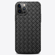 Soft Silicone Gel Leather Snap On Case Cover H01 for Apple iPhone 12 Pro Black