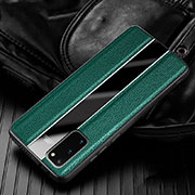 Soft Silicone Gel Leather Snap On Case Cover H02 for Samsung Galaxy S20 5G Green