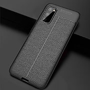 Soft Silicone Gel Leather Snap On Case Cover H05 for Samsung Galaxy S20 5G Black
