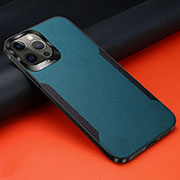 Soft Silicone Gel Leather Snap On Case Cover N01 for Apple iPhone 12 Pro Cyan
