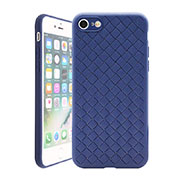 Soft Silicone Gel Leather Snap On Case Cover S01 for Apple iPhone SE (2020) Blue